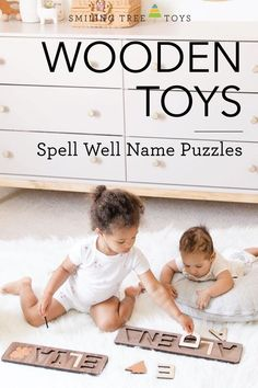 Stock your child's toy box with beautiful, high quality wooden toys to spur imagination and help them grow! The Spell Well Name Puzzles teach children by learning through play, and make beautiful decor pieces in nurseries too! #woodtoys Wooden Baby Toys, Wood Toys, Name Puzzle, Wooden Names, Childrens Gifts, Learning Through Play, Special Characters, Nurseries, Teaching Kids