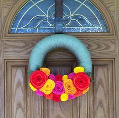 Bright Paradise WreathDoor DecorMoss Green Yarn by rusticowldecor, $38.00