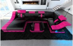 Superb  Moderne Design Wohnlandschaft TURINO U Form aus Leder mit LED Beleuchtung