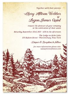 Wilderness. Getting married in a forest, by a stream or in the mountains? This invitation captures every essence of the great outdoors!