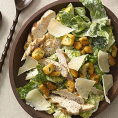 A Skinny Caesar Chicken Salad with half the fat and calories of traditional versions! #recipe | Health.com