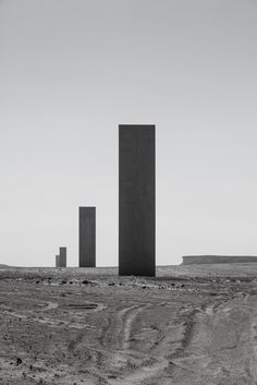 "onsomething:  Richard Serra | ""East-West/West-East"", 2014 Doha. Four steel plates that are about 15m (49 feet). Span 1km. ""The placement (of the pieces) is not geometrical, it's topological; they can only be placed where they are to achieve the curvature of the land. If one walks through the pieces; he will understand not only the rhythm of himself in relationship to the landscape but also the rhythm of himself in relationship to the height and the length of the pieces."""
