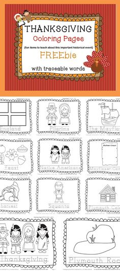 This is a fun Thanksgiving FREEbie! It contains the following eleven coloring pages with traceable words: Pilgrims England Mayflower Plymouth Rock Mayflower Compact Plymouth Colony Squanto harvest Native Americans feast Thanksgiving #ThanksgivingFacts #ThanksgivingFun #ThanksgivingFree #ThanksgivingColoringPages