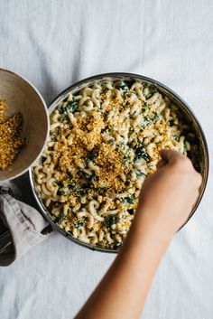 Crusty Baked Vegan Alfredo w/ Caramelized Shallots & Kale | dolly and oatmeal