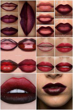 Lippen voller schminken: So gelingt es mit Lip-Contouring und Ombré-Lips! voller schminken: So gelingt es mit Lip-Contouring und Ombré-Lips! Make Up Tutorial Contouring, Lip Tutorial, Lip Makeup Tutorial, Makeup Tutorial For Beginners, Ombre Lips Tutorial, Lipstick Tutorial, Gothic Makeup Tutorial, Makeup Tutorials, Lip Contouring