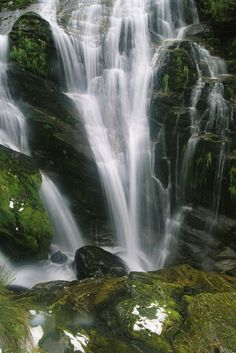 'Small waterfall near the Milford Track on New Zealand's South Island.' by National Geographic