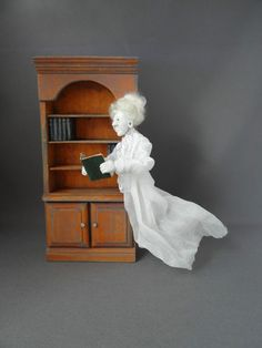 Ghost reading a book  Haunted Dollhouse miniature OOAK Pat Benedict