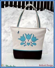 Tulipános nagy pakolós táska - türkiz (BellestiDesign 23acd761ce