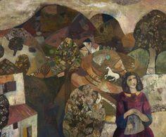 "lawrenceleemagnuson: ""Gwyneth Johnstone (UK 1915–2010) Landscape (c, 1971) oil on board 87 x 105 cm """