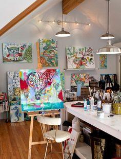 Michelle Allen's studio- 10 Inspirational Art Studios shared by www.carmenwhitehead.com