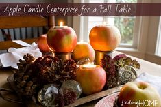 Apple Candle Centerpiece for a Fall Table, Fall Tablescape, Fall Centerpiece