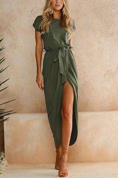 Army Green Short Sleeves Splited Hem Maxi Dress - US$21.95 -YOINS
