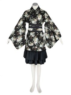 AvaLolita Black Floral Ninja Maid Ruffles Cotton Lolita Dress, XXL