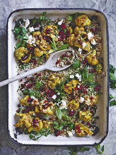 Pearl barley, roasted cauliflower and cranberry salad