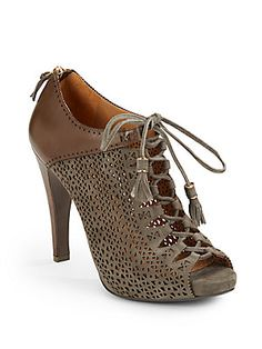 Aerin Claremont Laser-Cut Leather Ankle Boots