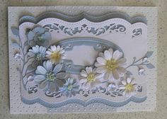 Spellbinders A2 Bracket Borders, Radiant Rectangles (blue oval) Spellbinders-Heartfelt Creations-Daisy , Memory Box Lavish Branch.