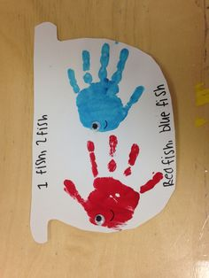"Our handprint ""one fish, two fish"" bowls!"