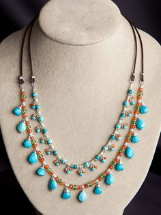 Harmony Scott Jewelry Design - Anjali Multi Strand Necklace | Carnelian, Peridot, Turquoise, Pearls