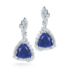 Elegant GIA Cert Trillion Cut Tanzanite with Fancy Shape Diamond Earrings 2