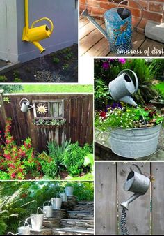 Fun ways to reuse old watering cans in the garden. -- Very cute, I have a couple of these cans.