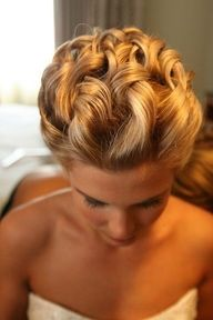 Simple up-do, loose curls....How pretty would this be if there were some Orchids in the back!