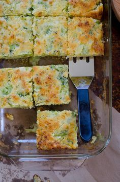 Broccoli Cornbread Squares - Get your fill of broccoli in this mildly sweet…