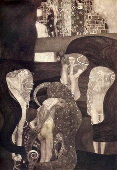 Художник - Густав Климт - «Юриспруденция. Роспись потолка для Венского Университета (фото)» (Модерн, Аллегорическая сцена): Описание картины