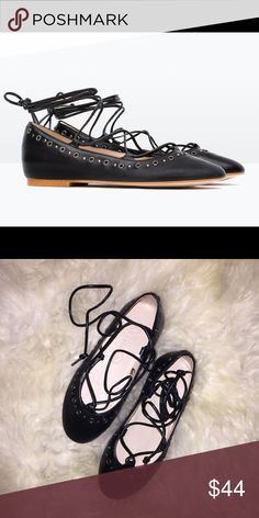 Brand New Toddler Zara Lace Up Ballerinas Brand new never worn. Leather lace up ballerinas from Zara. They fit very narrow, my child has chubby feet so it didn't fit her well. European size 26 - US size 9 Zara Shoes Flats & Loafers