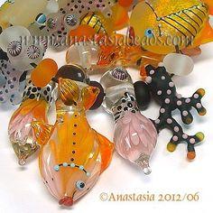 """ANASTASIA--lampwork beads--(13)--""""SUNRISE REEF""""--SRA"""