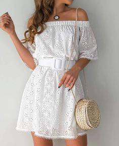 Off Shoulder Hollow Out Trim Casual Dress - Simple Dresses, Pretty Dresses, Casual Dresses, Short Sleeve Dresses, Summer Dresses, Chic Outfits, Dress Outfits, Fashion Dresses, Vestido Casual