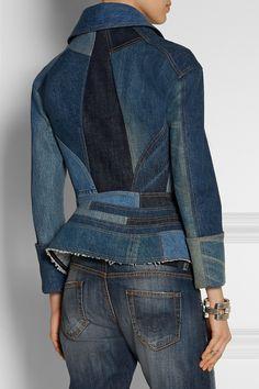 Junya Watanabe|Patchwork denim peplum jacket|NET-A-PORTER.COM