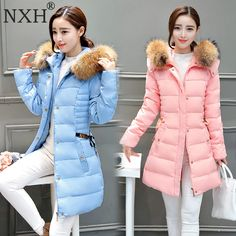 49.98$  Buy now - http://alisq6.shopchina.info/go.php?t=32792244861 - NXH 2017 New arrival Women Winter Jacket Pink Long Style Down jackets Mink Fur Hood Removable Female Slim Fill 100% White duck   #magazine