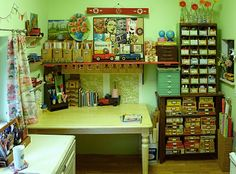 funky organized craft room....cigar boxes!