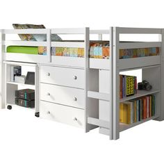This twin low loft bed with storage is a great space saver. All you need for each child neatly tucked under the low loft. See all low loft beds at Bunk Beds Bunker. Bunk Beds With Stairs, Kids Bunk Beds, Low Loft Beds For Kids, Twin Size Loft Bed, Double Loft Beds, Loft Bed Plans, Kids Bedroom Furniture, Diy Bedroom Decor, Bedroom Ideas