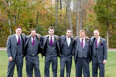 groom and groomsmen, gray men's attire, purple ties and pocket squares, rustic purple DIY wedding, purple and orange fall wedding, Carley Rehberg Photography