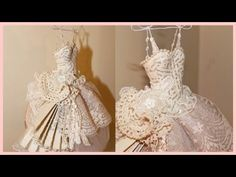 Shabby Chic Art Dress - Paper / Mache and Lace - YouTube - this looks like it would fit a Barbie doll !.