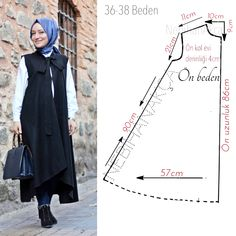 Image may contain: 1 person Frock Fashion, Abaya Fashion, Fashion Sewing, Dress Sewing Patterns, Sewing Patterns Free, Clothing Patterns, Sewing Clothes, Diy Clothes, Crochet Waffle Stitch