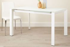 Eve White Frosted Glass Extending Dining Table from Danetti. Glass Dining Table, Dining Area, Dining Room, Extendable Dining Table, All White, Minimalist Home, Frosted Glass, Dining Furniture, White Interiors