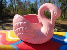 VTG 1950s MID Century Cotton Candy Pink Swan Art Deco Boudoir Pottery Planter Vintage Country, Retro Vintage, Plastic Pink Flamingos, Swans, Boudoir, Mid-century Modern, Planters, Shed, Mid Century