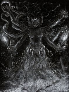 Hekate Triformas, by Orryelle - Pencil and white chalk on black paper, 2011