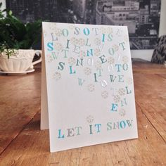 """Let It Snow Card, using the """"A B SEAS"""" children's alphabet stamp set, inks by SU and Hero Arts and WOW silver embossing powder. Challenge: Less is more #202 One Layer """"Snow"""". Thanks for stopping by. : )"""