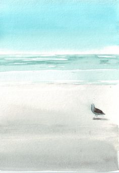 Original watercolor painting art beach bird seagull nautical blue turquoise aqua…