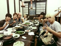 Super Junior celebrates their 'Music Bank' win with a group dinner
