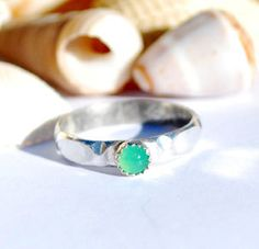 Chrysoprase Ring Chryoprase Jewelry Stacking by EarthsBountyGems