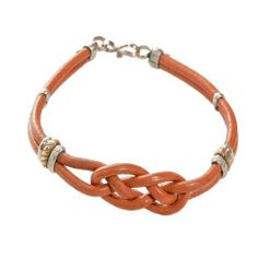 """8"""" Diameter Brown Colored Woven Knot 2 Strand Leather Bracelet Avatar Sterling. $7.50. Alpaca and Leather Bracelet With S-Clasp"""
