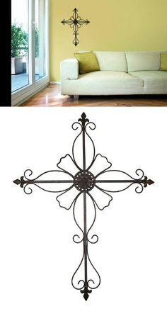 Elegant 25 Large Black Metal Fleur De Lis Cross Home Wall Decor Mission  Gallery