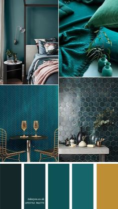 Teal Color Home Decor Idea - Home Color Palette - Teal Home Decor Idea . Teal Color Home Decor Idea - Home Color Palette - Teal Home Decor Idea - 12 Teal Color Palettes: Teal Color With Gold Ac. Teal Home Decor, Home Decoration, Art Decor, Fall Color Palette, Teal Color Palettes, Modern Color Palette, Teal Colors, Jewel Tone Colors, Colours