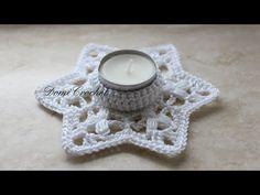 Háčkovaný svietnik - YouTube Crochet Furniture, Tea Candles, Christmas Decorations, Christmas Ornaments, Micro Macrame, Crochet Videos, Selling Art, Tea Light Holder, Crochet Shawl