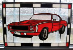 1969 Camaro Car Stained Glass Panel by StainedGlassYourWay on Etsy, $325.00