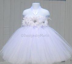 White flower girl dress PICK ANY SIZE White tutu by Designsbymarlo